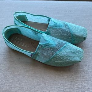 TOMS Turquoise Lace and Grosgrain Flats Sz 8.5